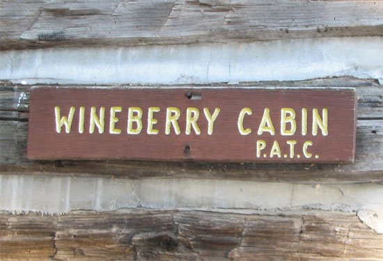 Wineberry cabin sign
