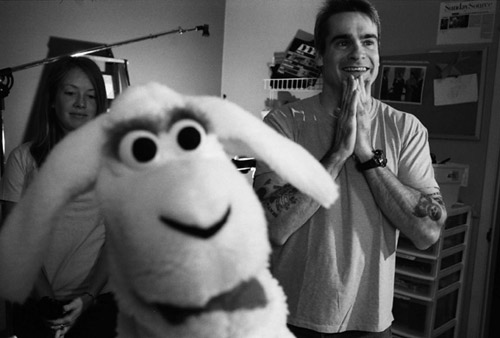 sheep puppet and Henry Rollins