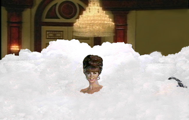 Ginger, from Gilligan's Island, in suds
