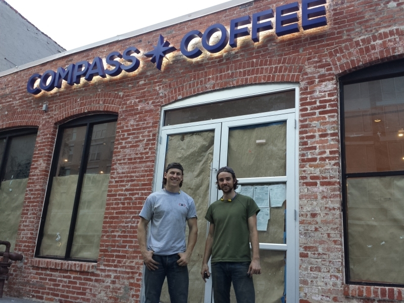 Michael Haft (left) and Harrison Suarez (right) of Compass Coffee