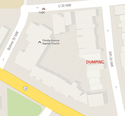Location of illegal dumping in the alley between 1906 and 1908 6th Street, NW.